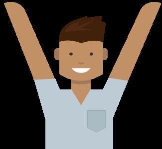 Hombre con sus brazos alzados, libera los beneficios de tu cuenta de Microsoft