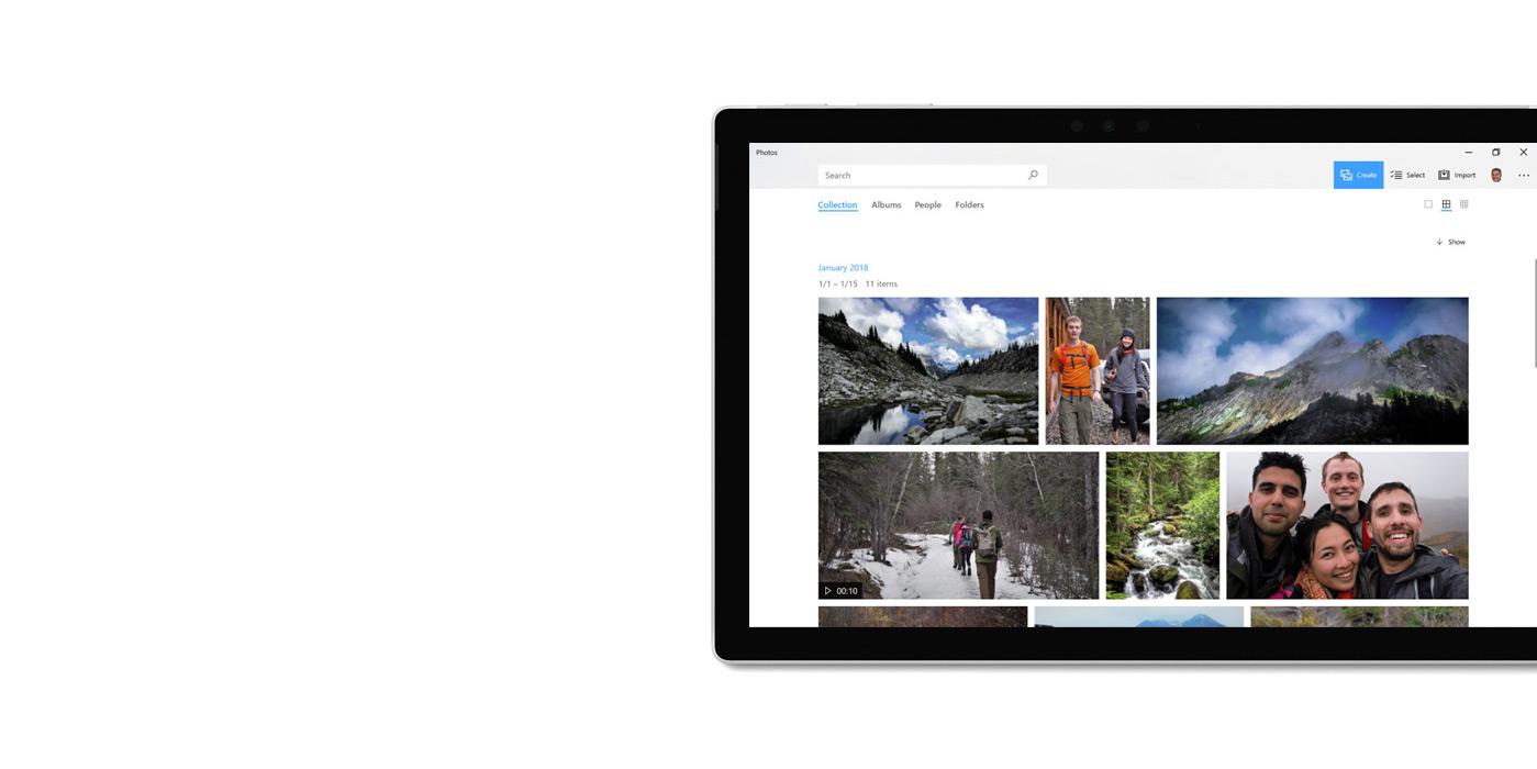 Tableta que muestra la aplicación Fotos.