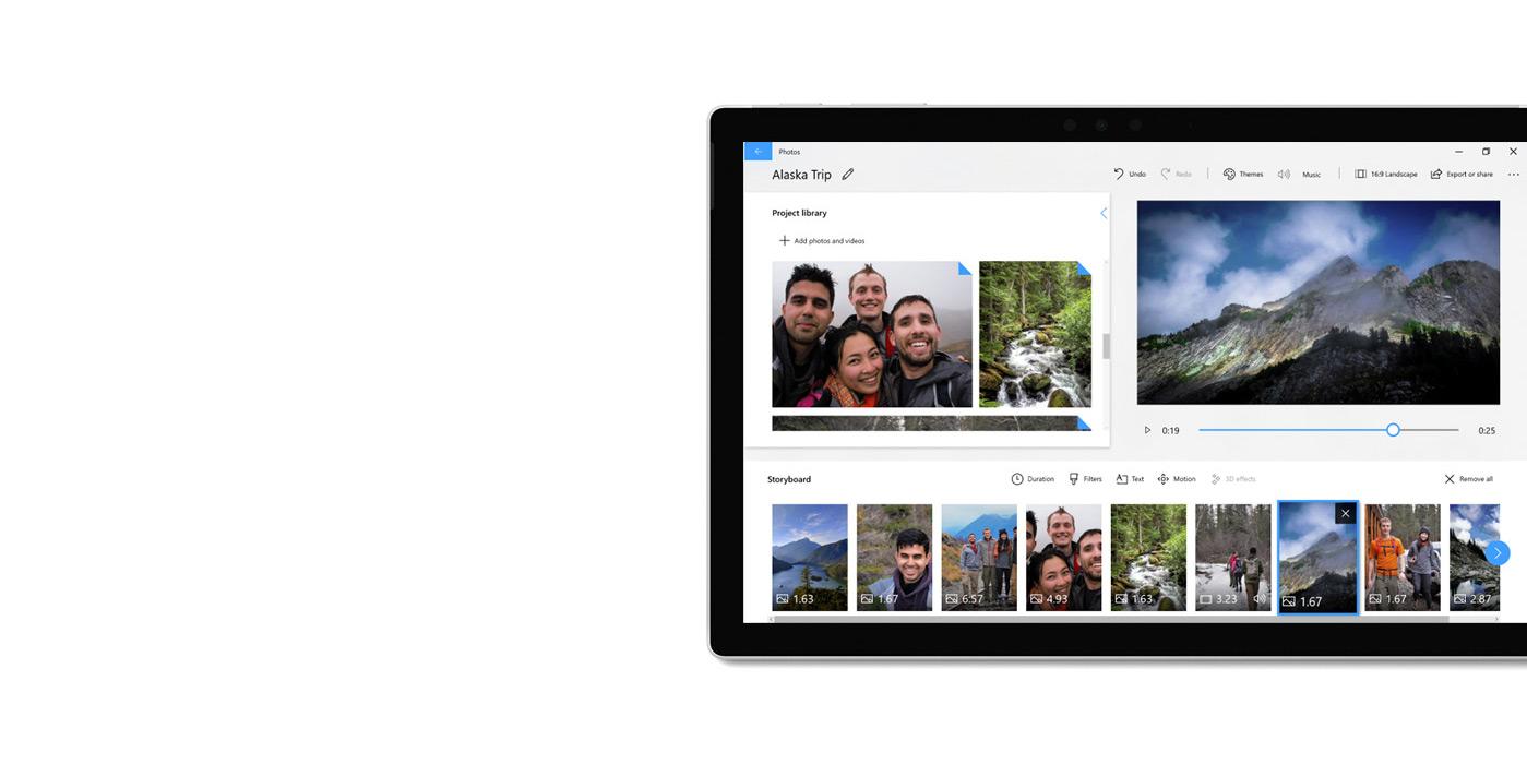 Tableta que muestra la aplicación Fotos y un editor de video.