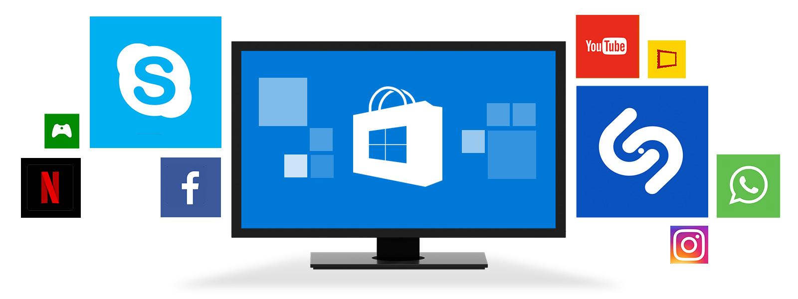 Un dispositivo Windows rodeado por iconos de aplicaciones