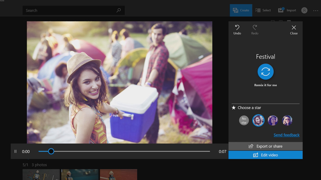 Imagen estática de la creación de películas en Windows 10