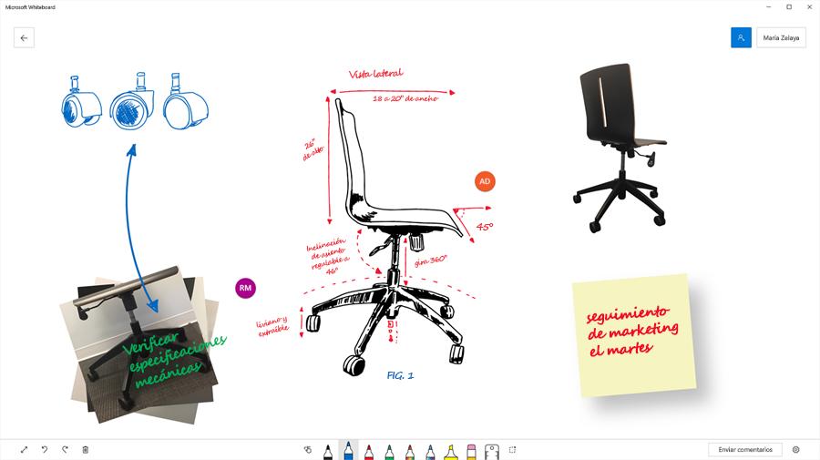 Imagen que muestra cómo un equipo usó Microsoft Whiteboard para visualizar la ingeniería de una silla de oficina.