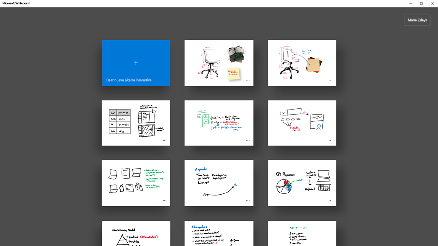 Imagen de un conjunto de tableros de Microsoft Whiteboard.