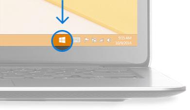 Esquina inferior derecha del escritorio de un equipo con icono de notificación de la llegada de Windows.