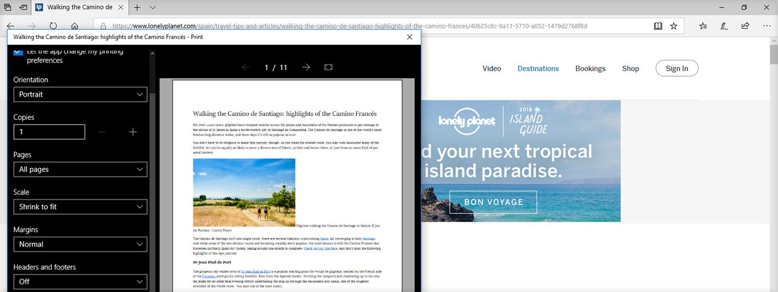 Imagen de una pantalla en la que se muestra una vista previa de impresión en Edge de una determinada página web sin anuncios