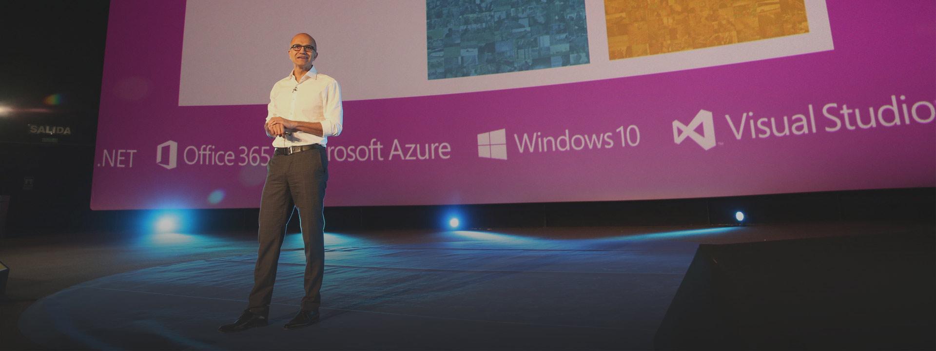 Satya Nadella presentando el la .Net Conference 2016 en Madrid, no te pierdas todas las sesiones