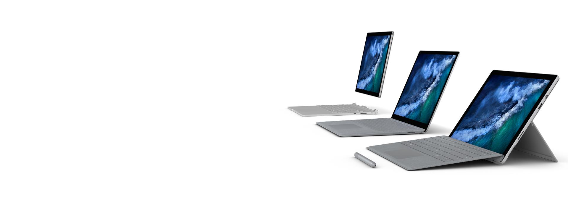 Familia de Surface: Surface Pro, Surface Laptop y Surface Book 2