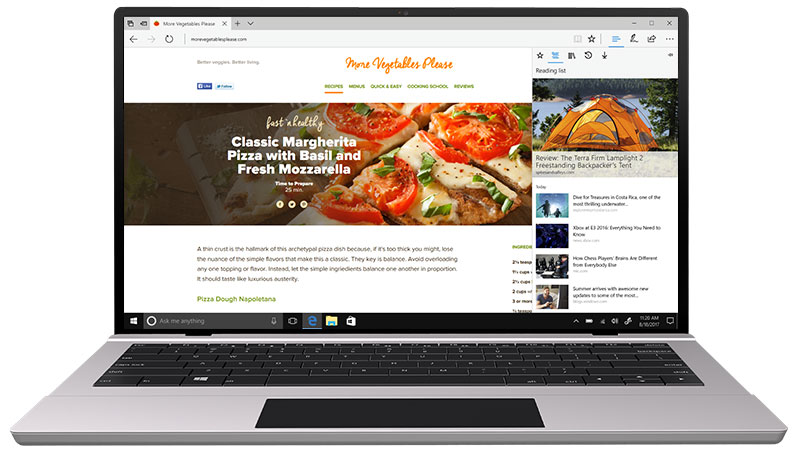 Hub de Microsoft Edge mostrando los favoritos