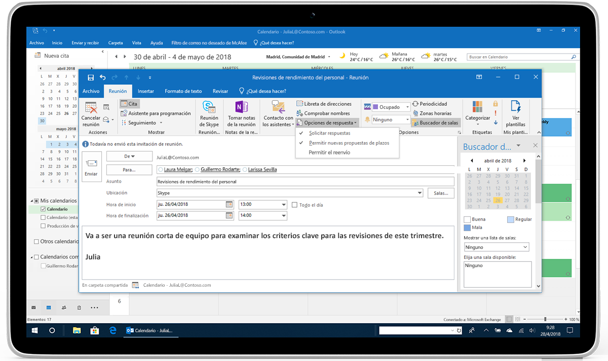 Una tableta en la que se muestran las opciones de respuesta para una convocatoria de reunión en Outlook.