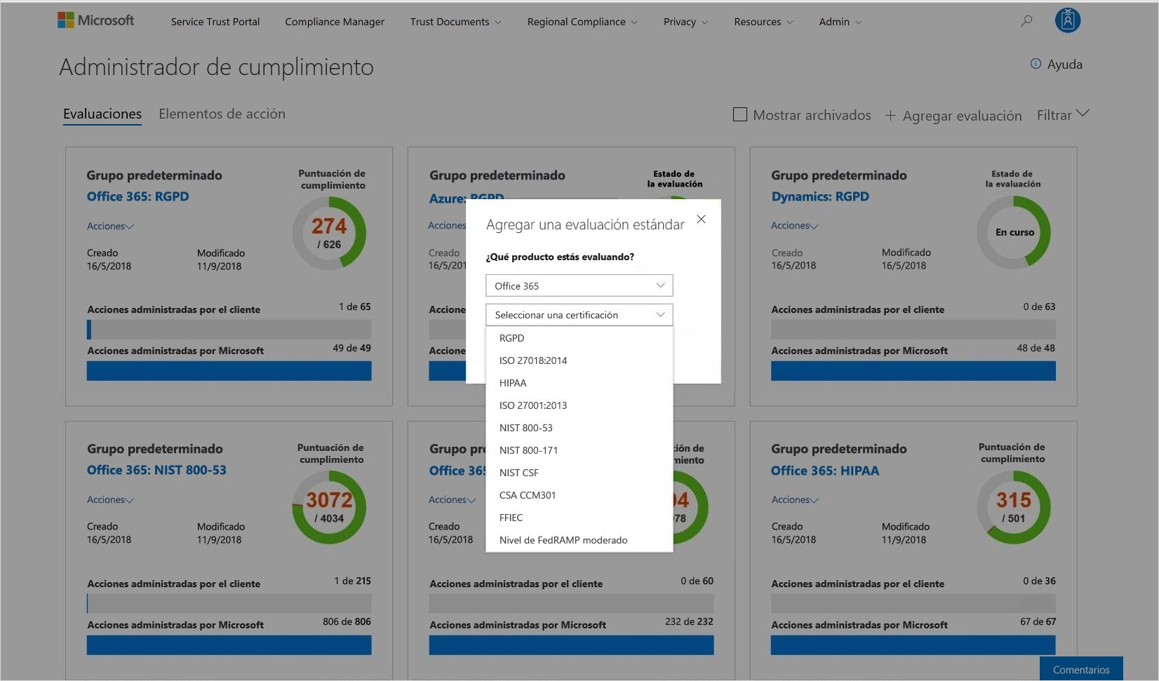 Captura de pantalla donde se muestra una evaluación estándar en el Administrador de cumplimiento.