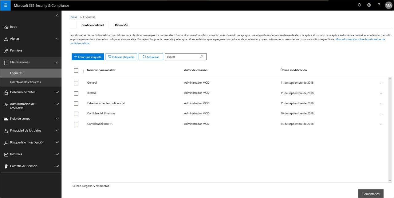 Imagen donde se muestran las funciones de etiquetado en Seguridad y cumplimiento.