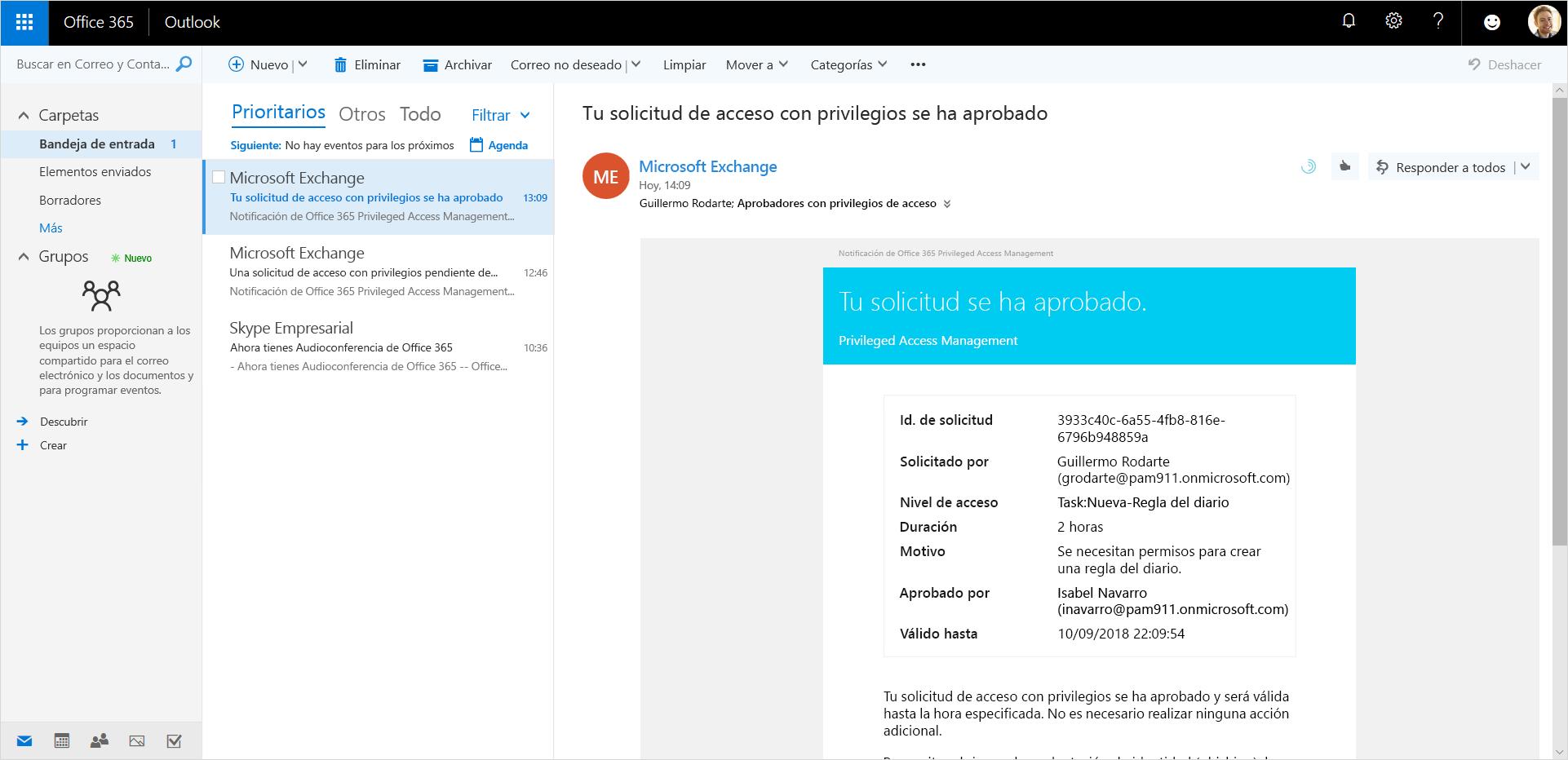 Imagen donde se muestra una solicitud de acceso con privilegios aprobada en Outlook.