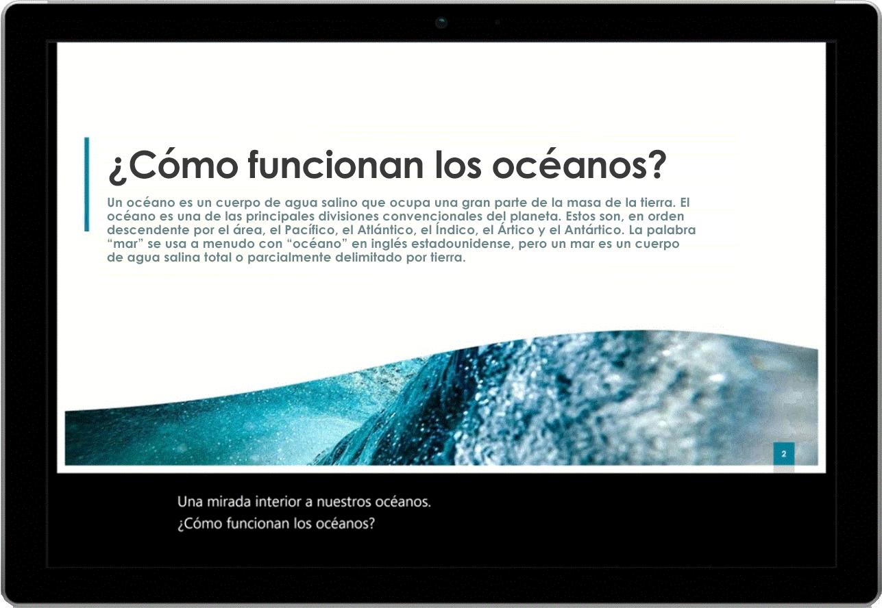 Imagen de una tableta en la que se muestra una diapositiva de PowerPoint sobre océanos. Los subtítulos en directo aparecen en la parte inferior de la pantalla.