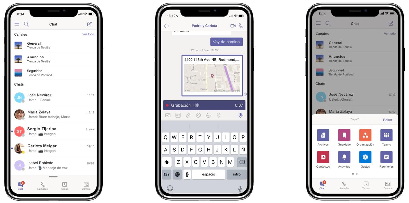 Tres iPhones exhiben la nueva característica de Teams: mantén todas las conversaciones en un solo lugar (izquierda), comparte ubicación y graba mensajes de audio (medio) y personaliza el menú de navegación (derecha)
