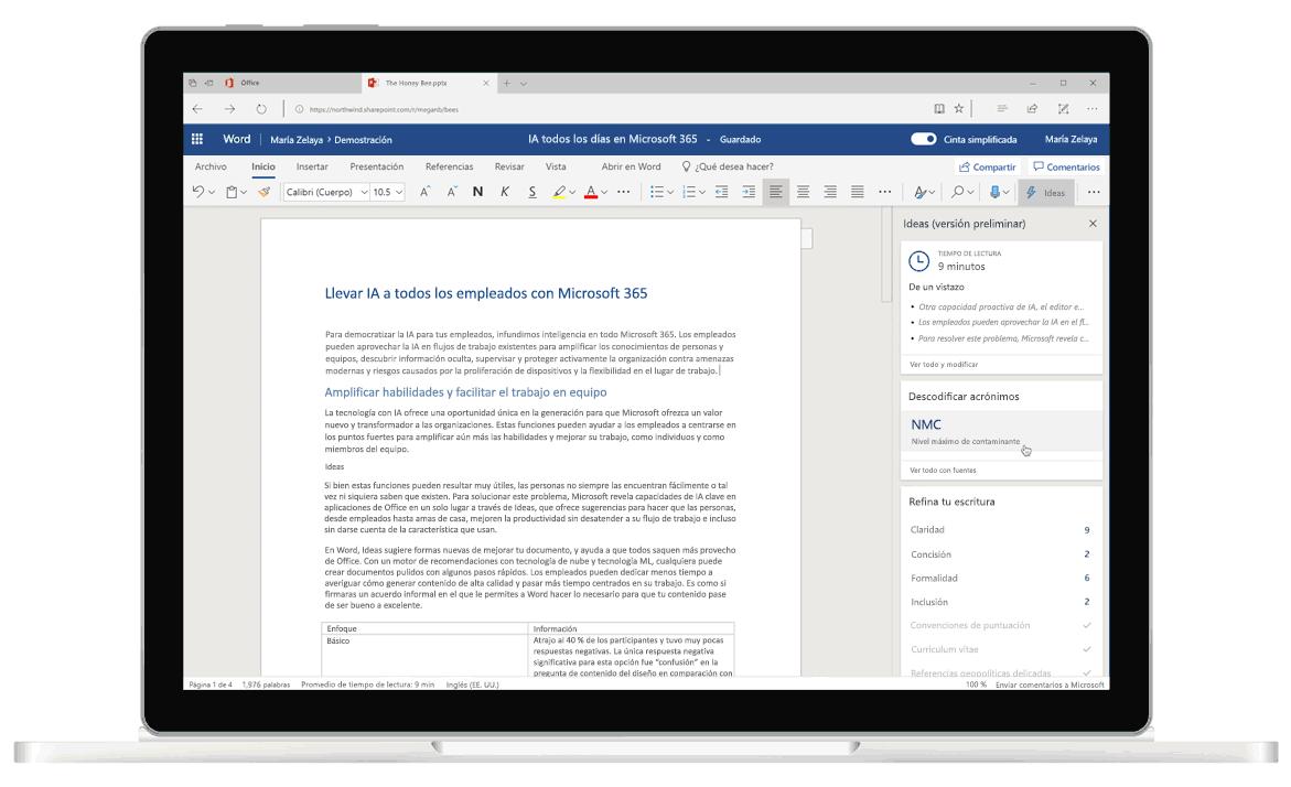Captura de pantalla de Ideas en Word, el editor con tecnología de IA que te ayuda con sugerencias gramaticales y de escritura.