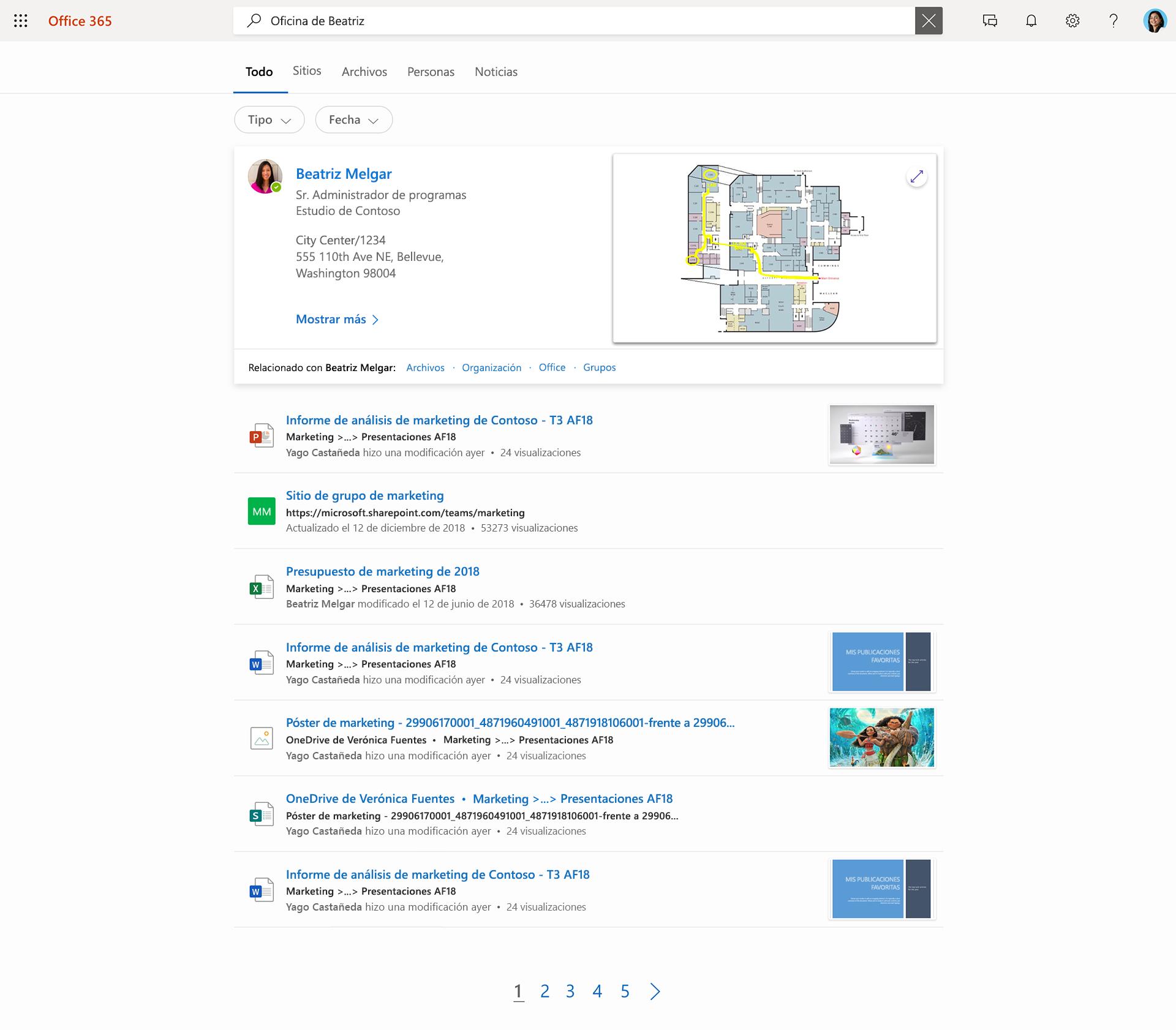 """Imagen de Búsqueda de Microsoft. Un usuario ha escrito """"Elvira oficina"""" y en su lista aparecen contactos, archivos y sitios."""