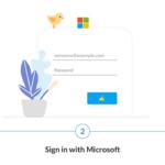 Infografía que muestra tres pasos: obtener Microsoft To Do, iniciar sesión con Microsoft e importar los datos de tu Wunderlist.