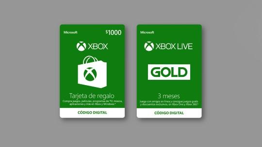 Tarjetas de código digital y ejemplo de monitor mostrando Xbox y Xbox Live, visita Microsoft Store México.