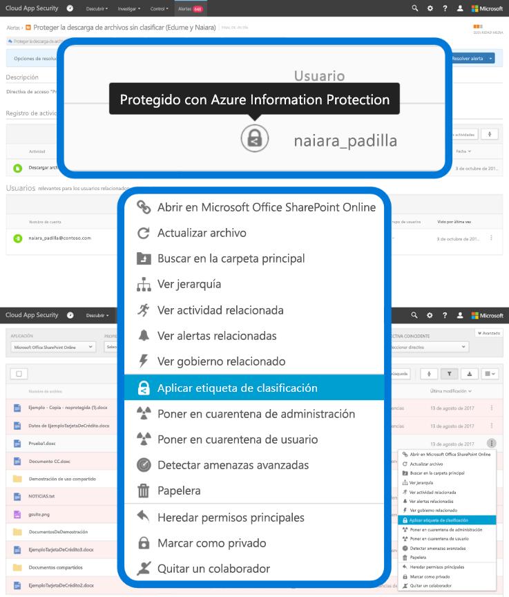 """Captura de pantalla en la que se muestra la selección """"Aplicar etiqueta de clasificación"""" de un menú desplegable en Azure Information Protection."""