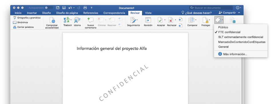 En una captura de pantalla, se muestra un documento confidencial de Word, incluida la marca de agua del documento.