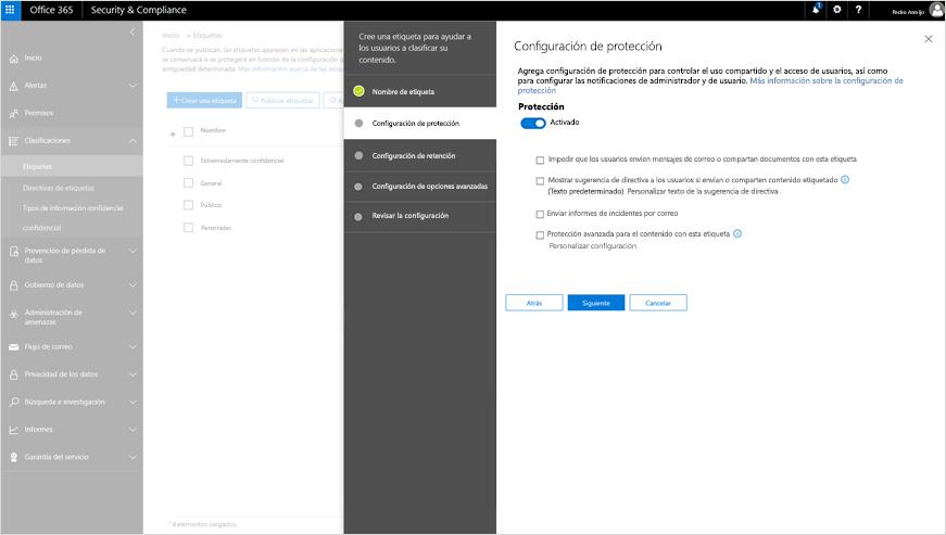 Captura de pantalla de la configuración de protección en el Centro de seguridad y cumplimiento.
