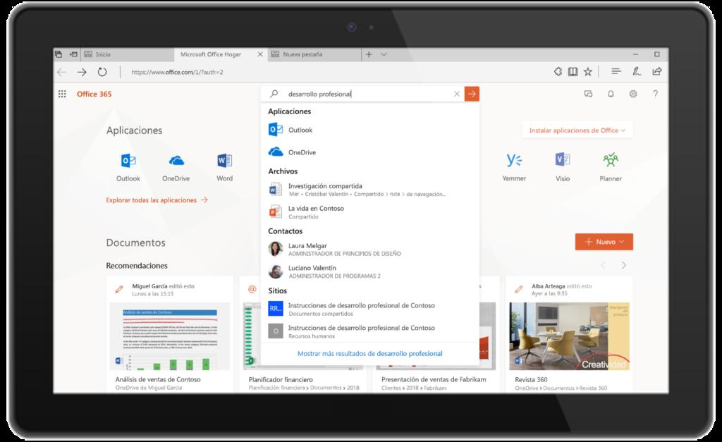 Una imagen que muestra Búsqueda de Microsoft en Office.com.