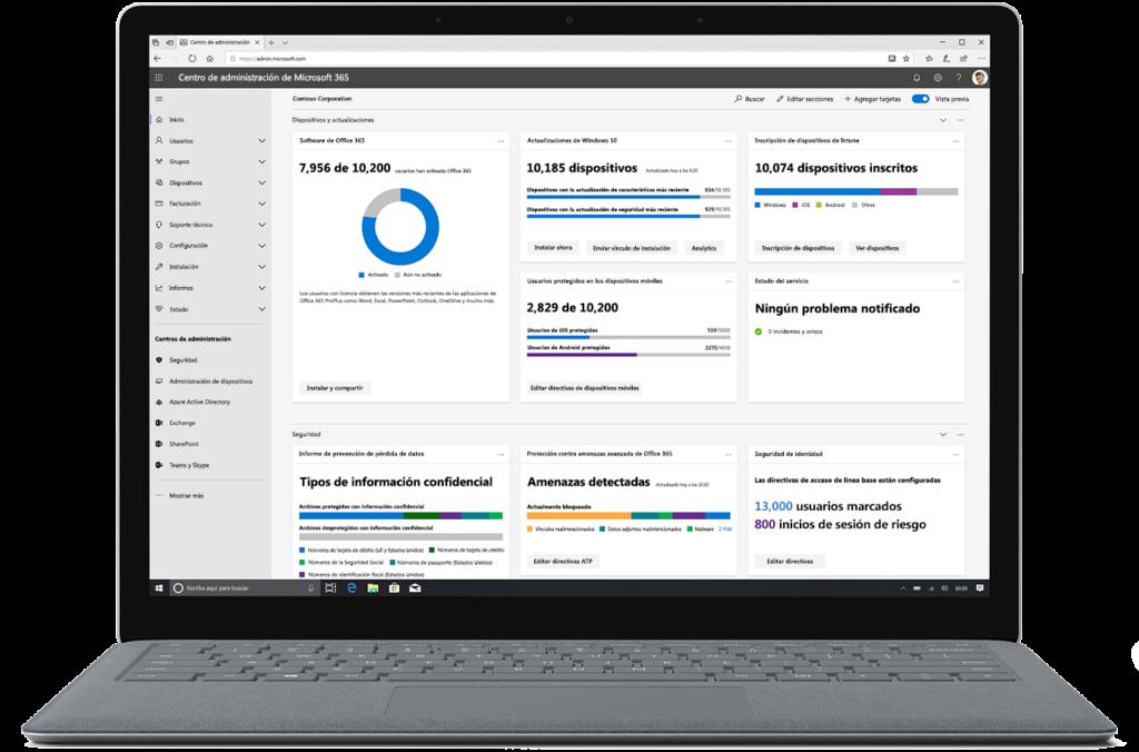 Una imagen que muestra el Centro de administración de Microsoft 365 en un portátil abierto.