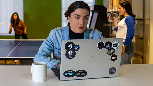 Woman working with a laptop