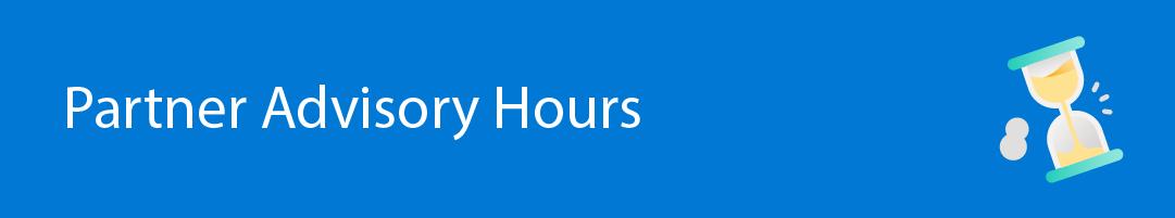 """Banner that says: """"Partner Advisory Hours"""""""
