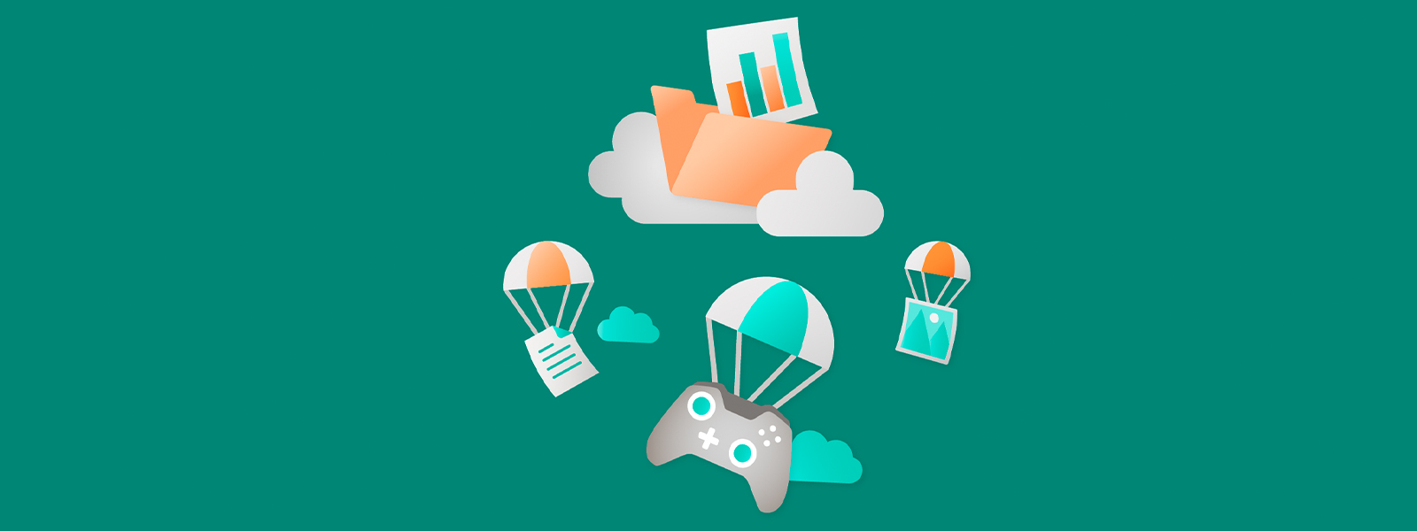 Illustration Featuring Software Icons Falling on Parachute