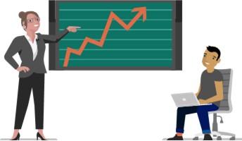 Ilustración de una mujer enseñando un gráfico y un hombre con una computadora portátil.