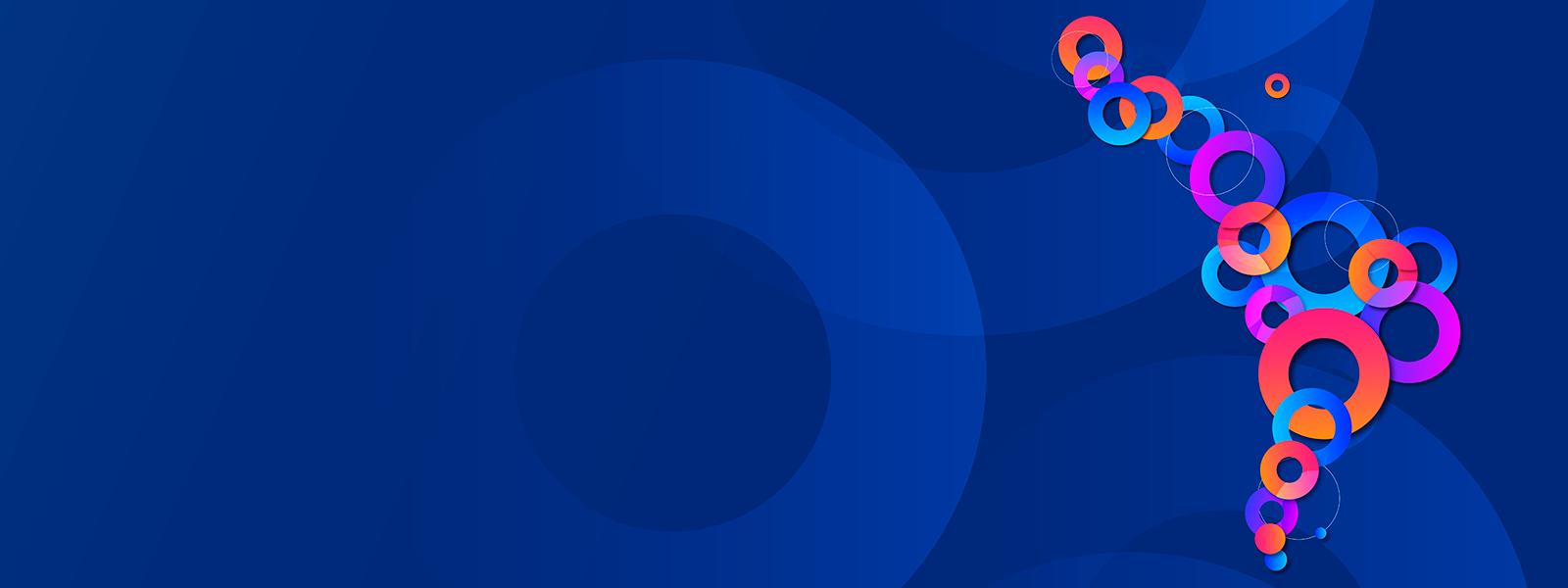 """Logo de Latinoamérica formado por anillos de colores y el texto """"Latam Virtual Partner Connection. Explora. Aprende. Conecta"""""""