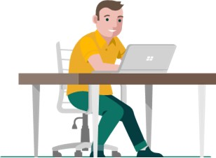 Ilustración de un hombre con una computadora portátil.