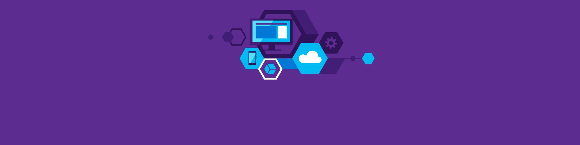 Tietokone, puhelin, pilvi ja muita teknisiä kuvakkeita