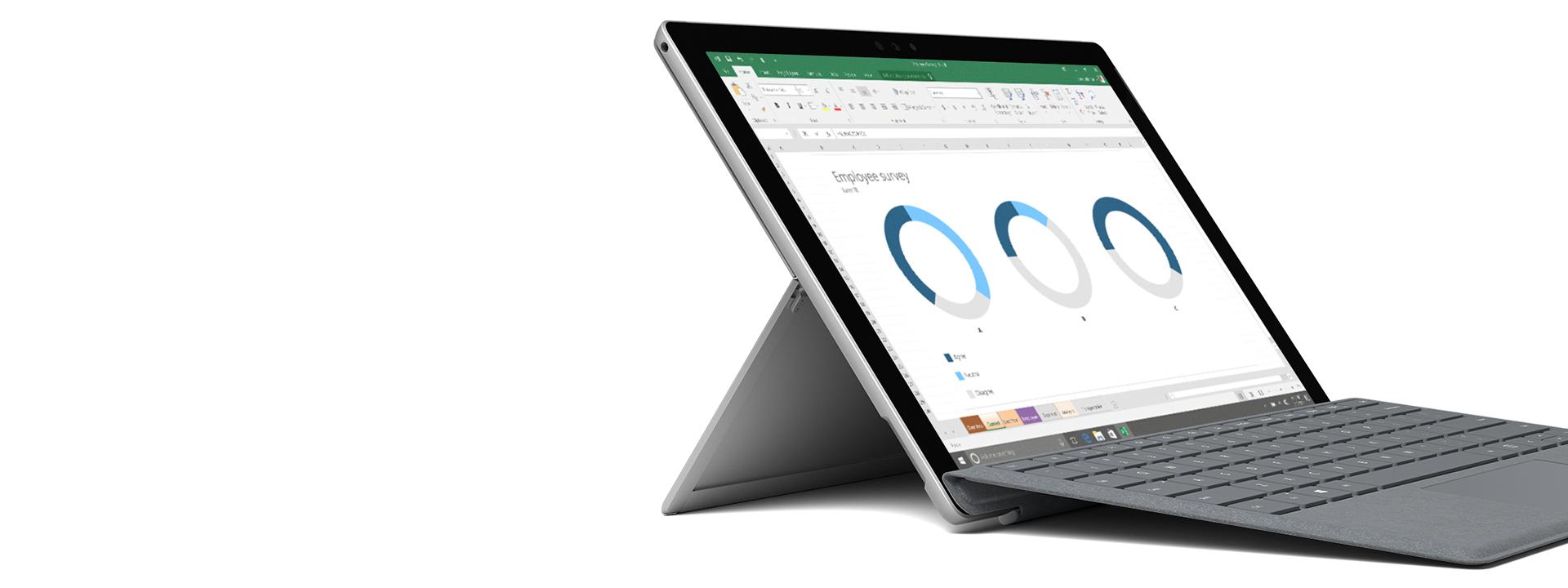 Surface-laite, jossa näkyy Windows/Office-näyttökuva.