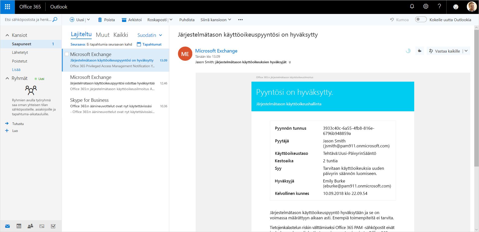 Kuva, jossa näkyy hyväksytty etuoikeutetun käytön pyyntö Outlookissa.