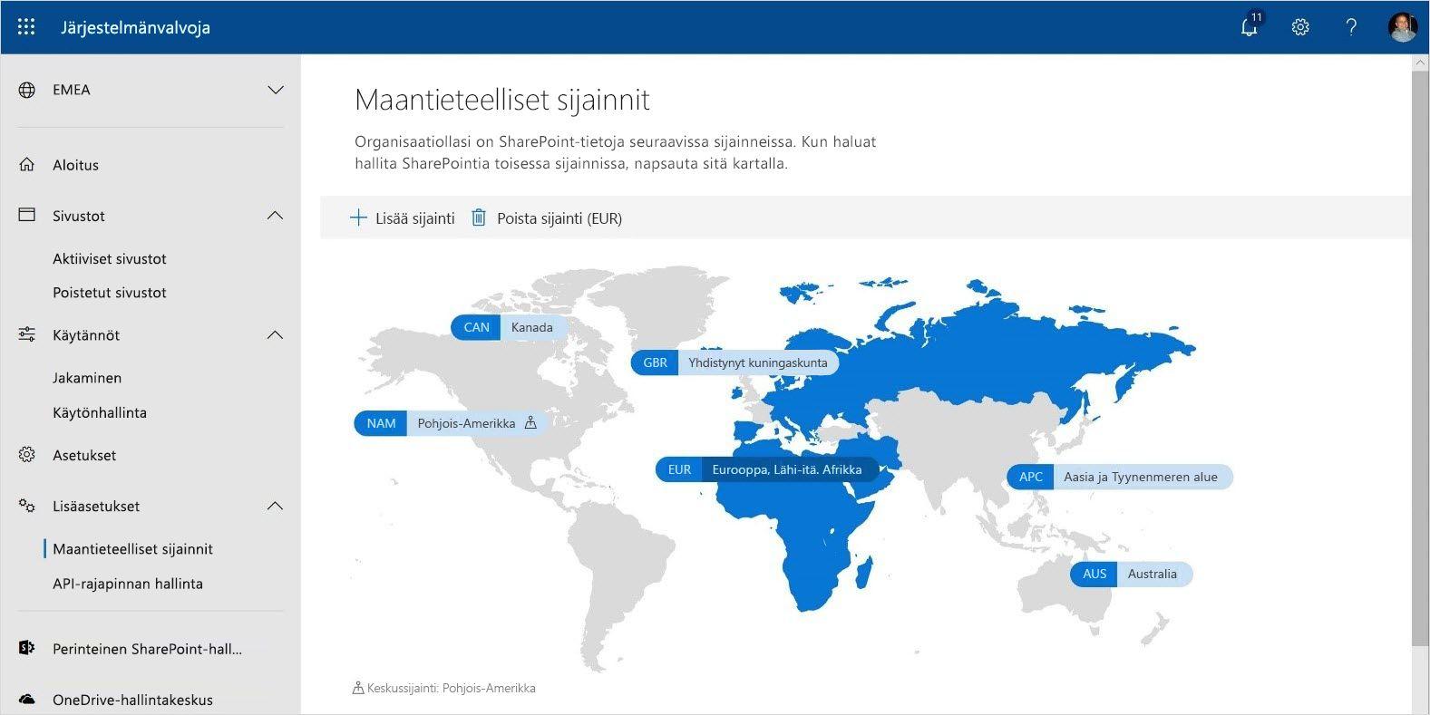 Kuva, jossa näkyvät Multi-Geo Capabilities -toiminnot Office 365:ssä.