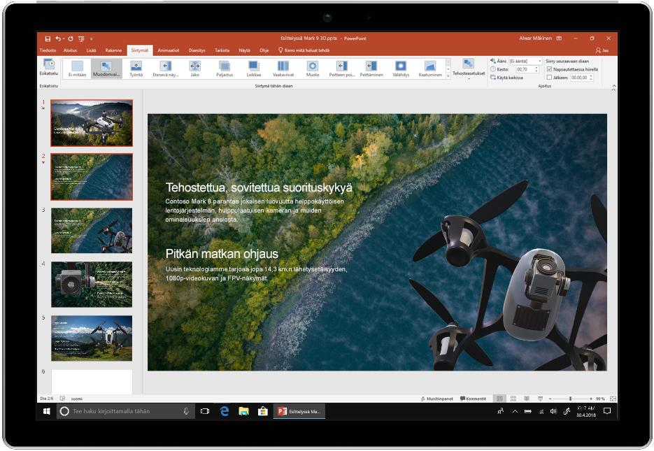 Kuvassa näkyy laite, jossa on käynnissä Office 2019:n PowerPoint.