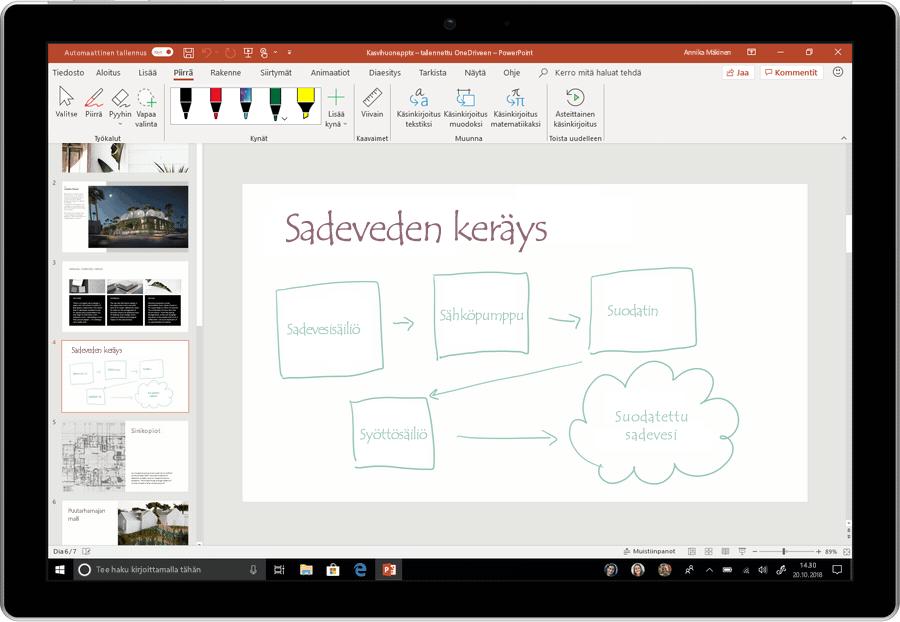 Tämä on animoitu näyttökuva, jossa näytetään käsinkirjoituksen muuntaminen tekstiksi PowerPointissa.