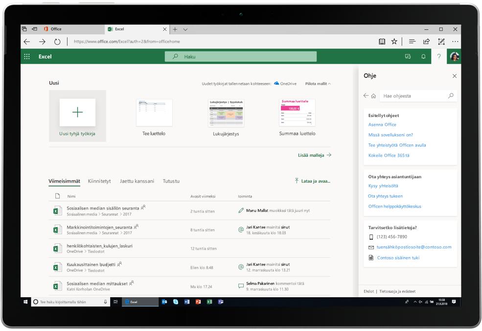 Tämä on näyttökuva, jossa on Excel-välilehti auki Office Onlinessa.