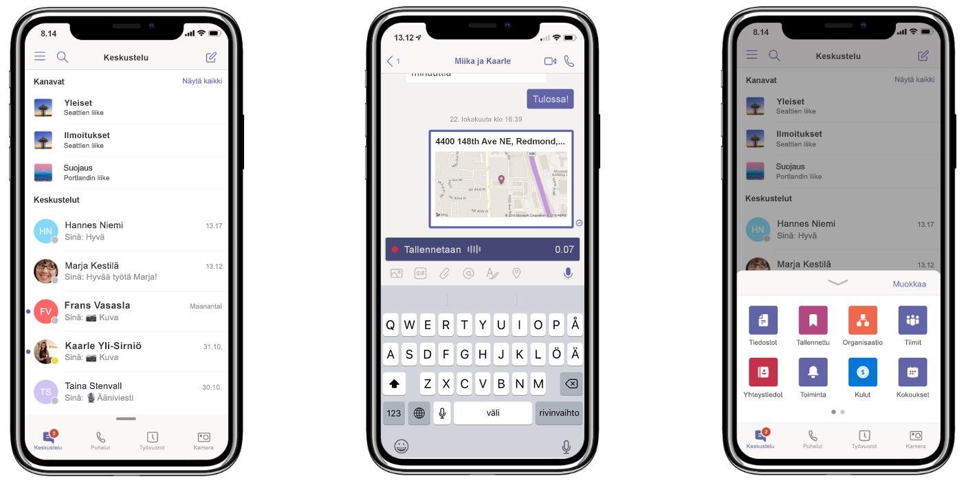 Uusi Teams-ominaisuus kolmessa iPhonessa: kaikkien keskusteluiden pitäminen yhdessä ja samassa paikassa (vasemmalla), sijainnin jakaminen ja ääniviestien tallentaminen (keskellä) ja mukautettava siirtymisvalikko (oikealla)