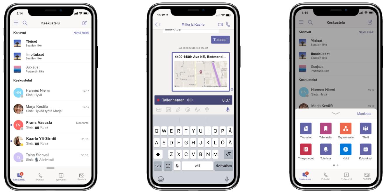Kuva kolmesta puhelimesta, joissa näkyy keskustelu ja puhelun tallennus Microsoft Teamsissa.
