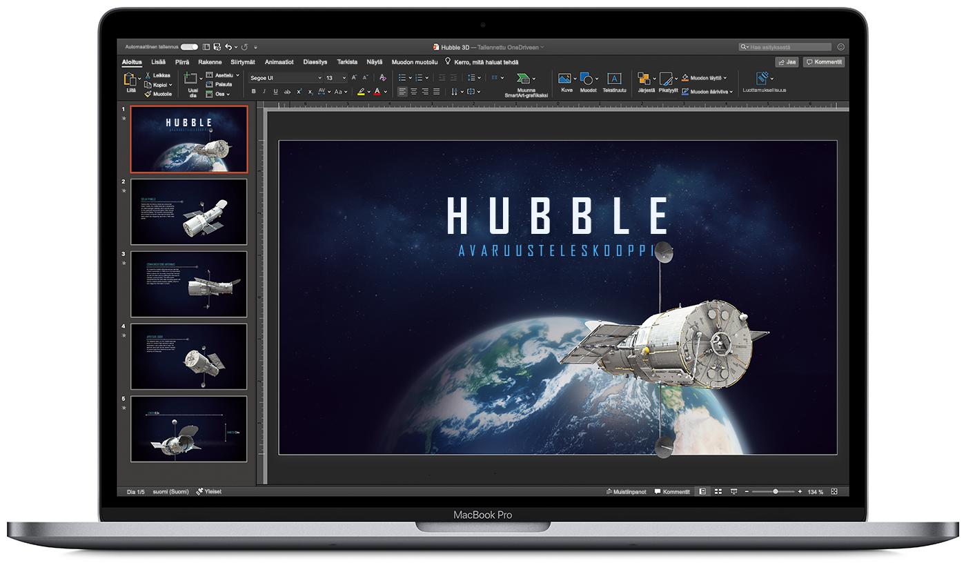 Kuvassa on MacBook, jossa on auki PowerPoint tummassa tilassa.