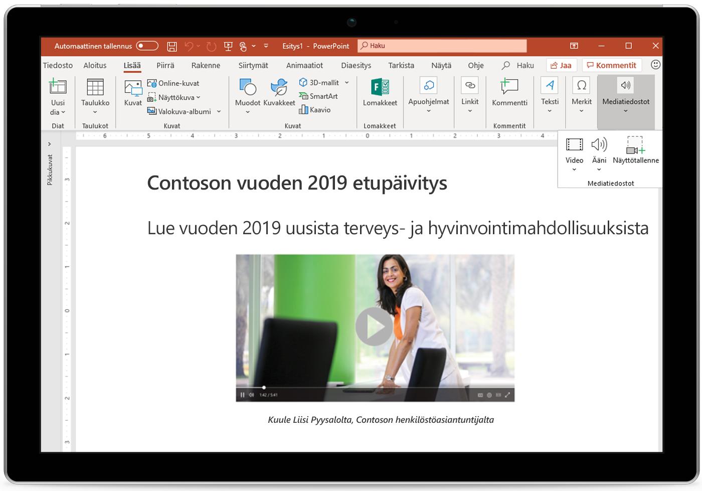 Kuva tabletista, jossa näkyy PowerPoint-dia.