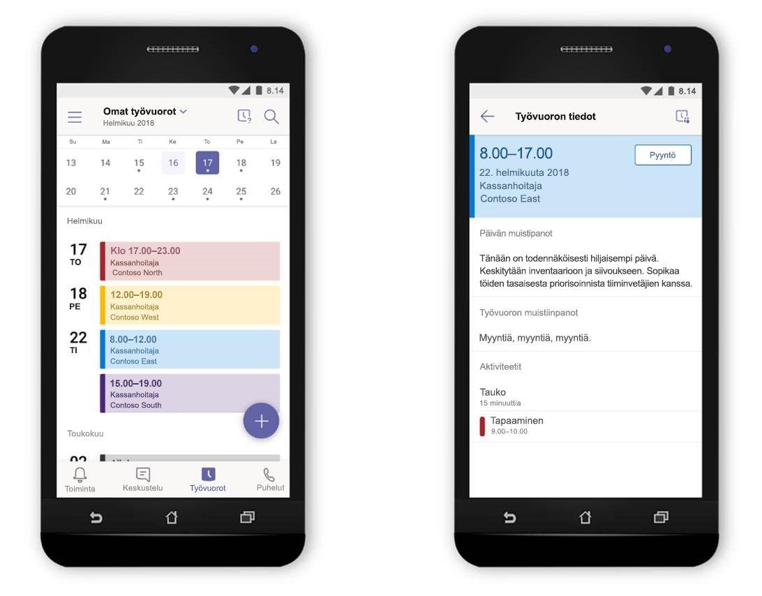 Kuva Microsoft Teamsin Työvuorot-työkalusta kahdessa rinnakkain olevassa puhelimessa.