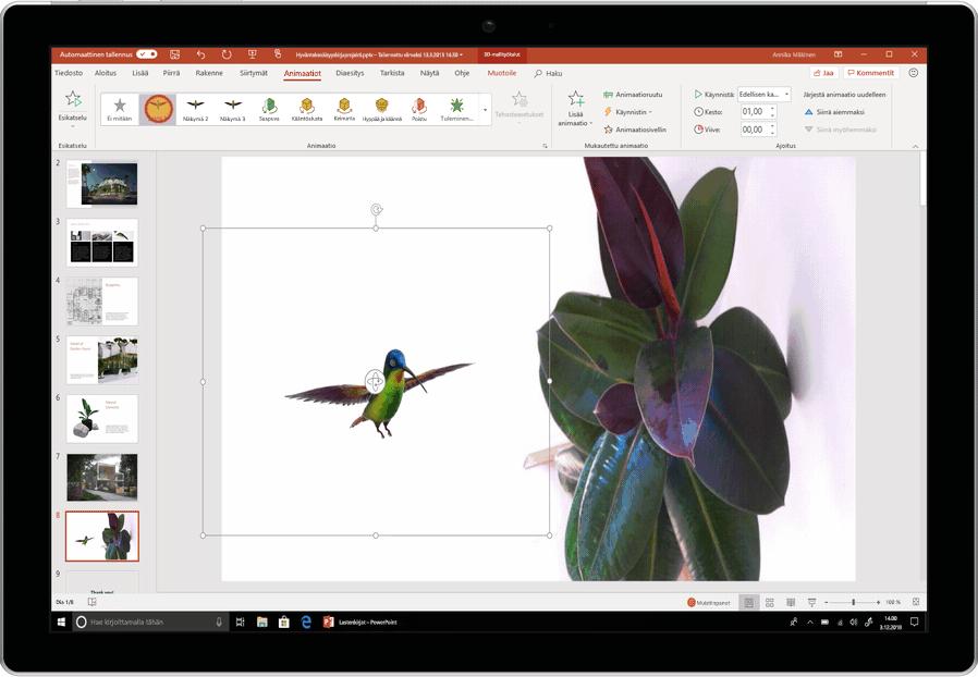 Kuva animoidusta kolibrista, jota käytetään PowerPoint-diassa.
