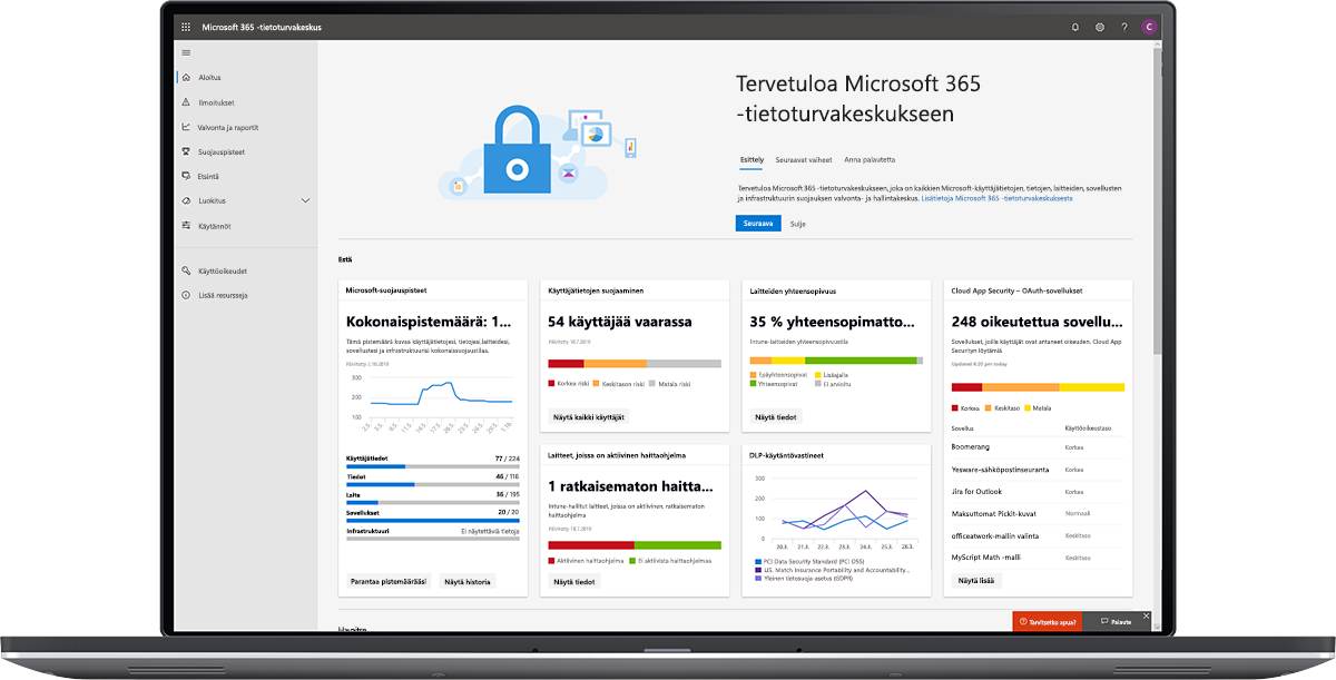Kuva Microsoft 365 -tietoturvakeskuksen koontinäytöstä.