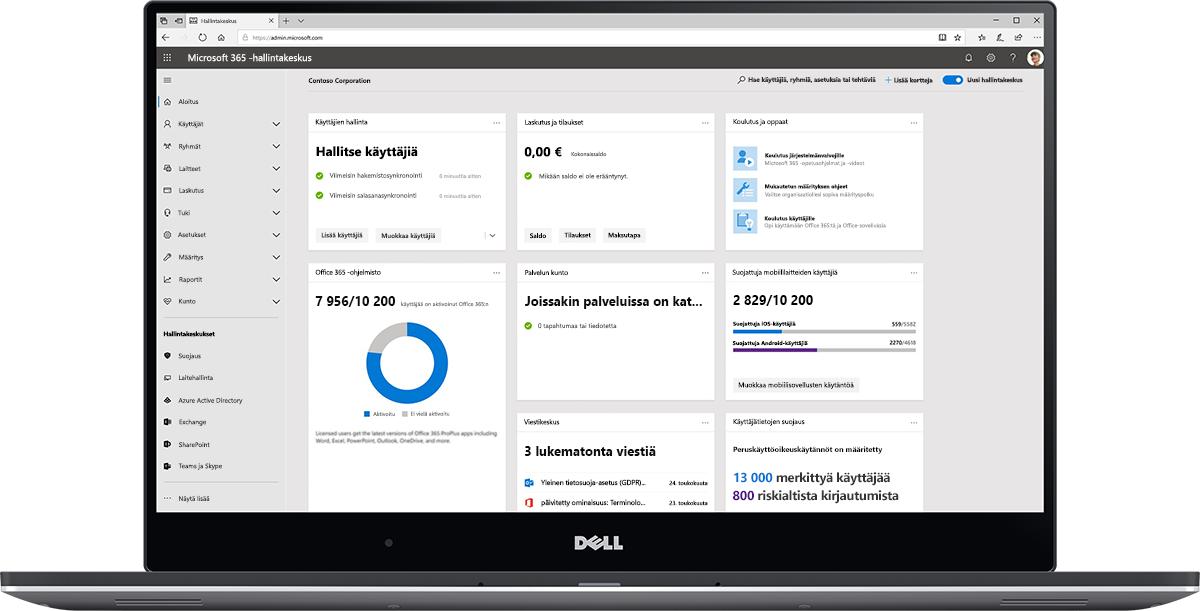 Kuva Microsoft 365 -hallintakeskuksen koontinäytöstä.