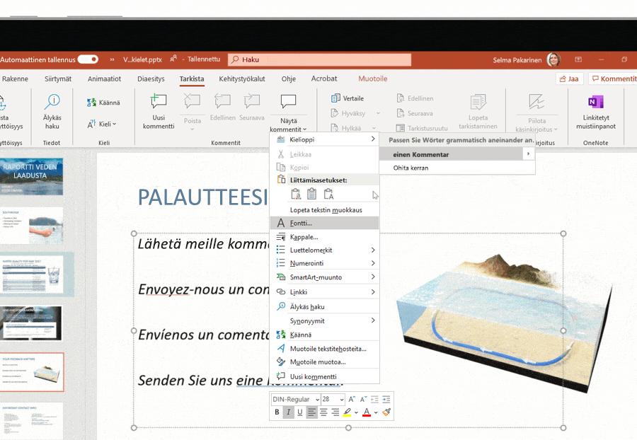 Näyttökuva monikielisestä tuesta, jota käytetään Microsoftin PowerPoint-diassa.