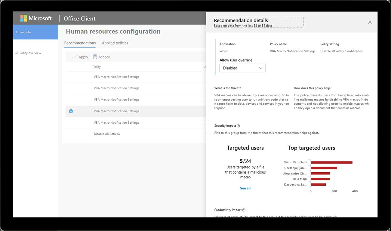 Kuva suosituksista kohdennetuille käyttäjille Microsoft Officen asiakasohjelmassa.